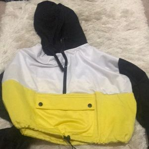 Black, yellow and blue cropped hoodie with pouch